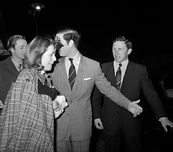 PAP 10: 10.1.95: LONDON: Library filer ref 169916-1, dated 14.2.75, of Camilla Parker Bowles leaving the  New London Theatre with the Prince of Wales. Mrs Parker Bowles and her husband, Andrew, announced  today (Tuesday) they are to divorce. PA NEWS/mjb. SEE PA STORY ROYAL Camilla. **Available b/w only**