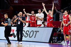 Sasha Aleksandar Djordjevic, head coach of Serbia and players react during basketball match between National Teams of Russia and Serbia at Day 16 in Semifinal of the FIBA EuroBasket 2017 at Sinan Erdem Dome in Istanbul, Turkey on September 15, 2017. Photo by Vid Ponikvar / Sportida