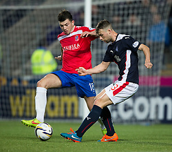 Cowdenbeath's Darren Brownlie and Falkirk's Rory Loy. <br /> Falkirk 1 v 0 Cowdenbeath, William Hill Scottish Cup game played 29/11/2014 at The Falkirk Stadium.