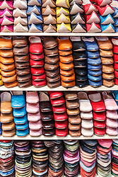 Stacks of leather shoos, Fes al Bali medina, Fes, Morocco
