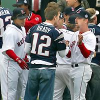 (04/09/2004 - Boston, MA) Fenway Opener.... LTOR Manny Ramirez, Tom Brady and Alan Embry (sp?)(040904soxmg-Photo: mark Garfinkel.