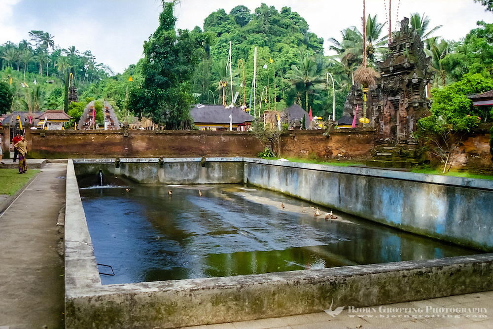 Bali, Gianyar, Tirtha Empul. Pura Tirtha Empul temple close to Tampaksiring. A large pool close to the entrance of the temple.