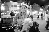 2011 September 12 - Woman with dog near Safeco Field, Seattle, WA, USA. Copyright Richard Walker