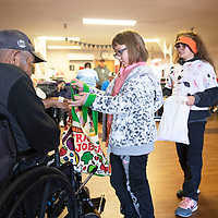 Third graders from Lincoln Elementary School trick or treated with residents at McKinley Center Thursday morning on Halloween in Gallup. McKinley Center residents wore masks they decorated and McKinley Center staff donated candy for the trick or treating.
