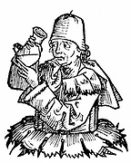 Atonius de Monte Ulmi (active 1384-90) Italian physician, necromancer, magician and astrologer, shown examining a sample of urine. Physician to Francesco the Younger (1393-1406) despot of Carrara. Woodcut from Hartmann Schedel 'Liber chronicarum mundi' (Nuremberg Chronicle) Nuremberg 1493