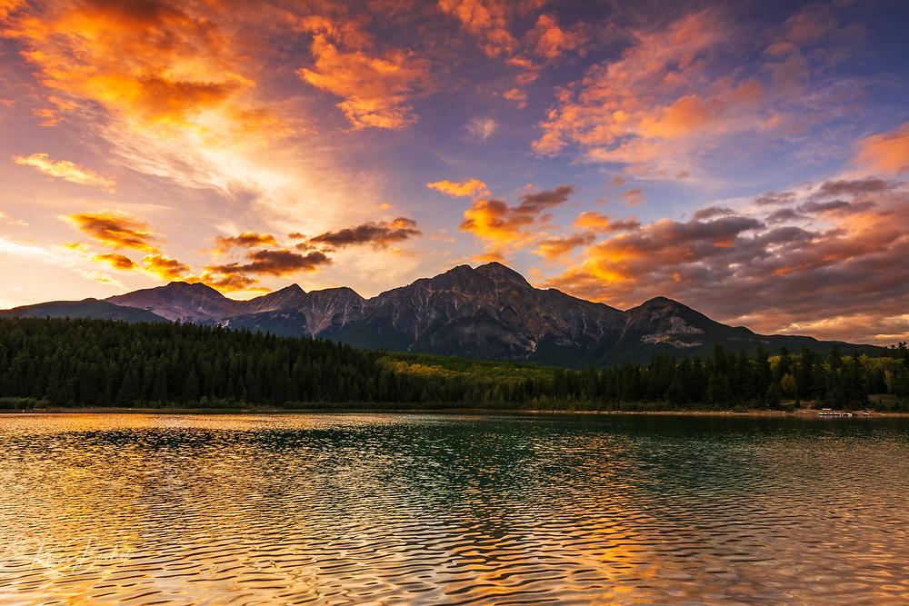 Sunset at Patricia Lake, Jasper National Park, Alberta Canada