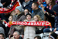 Fans enjoying the first womens derby match at Anfield  during the FA Women's Super League match between Liverpool Women and Everton Women at Anfield, Liverpool, England on 17 November 2019.
