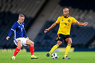 Vincent Kompany (#4) of Belgium controls the ball away from Leigh Griffiths (#9) of Scotland during the International Friendly match between Scotland and Belgium at Hampden Park, Glasgow, United Kingdom on 7 September 2018.