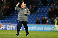 Neil Warnock, the Cardiff city manager celebrates at the final whistle after his team win 1-0. EFL Skybet championship match, Cardiff city v Aston Villa at the Cardiff City Stadium in Cardiff, South Wales on Monday 2nd January 2017.<br /> pic by Andrew Orchard,