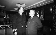 "06/04/1966<br /> 04/06/1966<br /> 06 April 1966<br /> Captain John Williams retires as Master of B & I ship the M.V. ""Munster"". Captain Williams was presented with a tape recorder by the Masters, Officers and staff of all the B & I ships. Picture shows Mr. Charles Allen (Cork), First Officer of the M.V. ""Munster"" chatting with Captain Williams at the reception on board the ""Munster""."