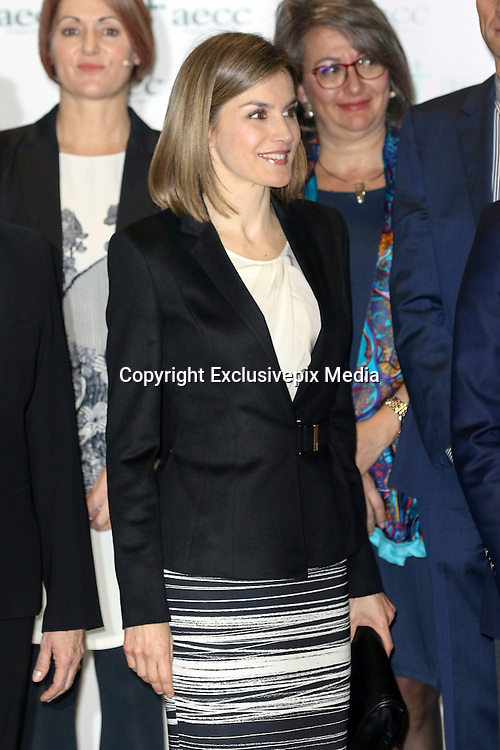 MADRID, SPAIN, 2015, FEBRUARY 03 <br /> <br /> Queen Letizia in the V Forum Against Cancer, a comprehensive approach, organized by the Spanish Association Against Cancer<br /> ©Exclusivepix Media