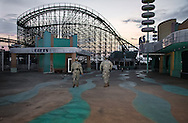 August, 24, 2008, Louisiana National Guard patrol inside Six Flags Amusement Park in Eastern New Orleans, destroyed by Hurricane Katrina.