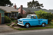 vintage pickup in front of house in Half Moon Bay, California