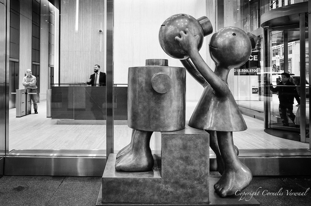 """""""Cone Fixing Cylinder"""" by Tom Otterness at Marlborough, West 57th street."""