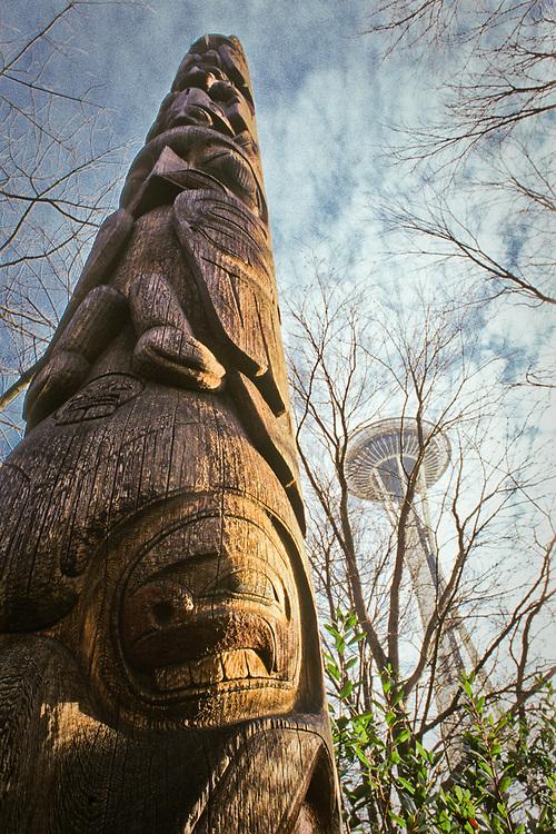 Totem with Space Needle, Seattle, Washington