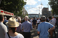 Fans enjoy the summer sun as they head towards the arch of Wembley Stadium for today's match. Premier league match, Tottenham Hotspur v Burnley at Wembley Stadium in London on Sunday 27th August 2017.<br /> pic by Steffan Bowen, Andrew Orchard sports photography.