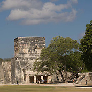 Temple of the Jaguars detail at Chichen Itza. Yucatan, Mexico.
