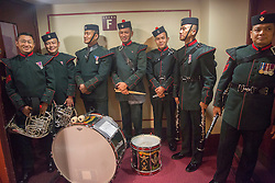 © Licensed to London News Pictures. 07/11/2015.  Royal Albert Hall, London, UK.  Members of the Royal Gurkha Rifles Pipes and Drums get ready to enter the arena prior to the annual Festival of Remembrance.  Photo credit : Alison Baskerville/LNP