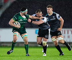 Paul Boyle of Connacht under pressure from  Sam Parry of Ospreys<br /> <br /> Photographer Simon King/Replay Images<br /> <br /> Guinness PRO14 Round 6 - Ospreys v Connacht - Saturday 2nd November 2019 - Liberty Stadium - Swansea<br /> <br /> World Copyright © Replay Images . All rights reserved. info@replayimages.co.uk - http://replayimages.co.uk