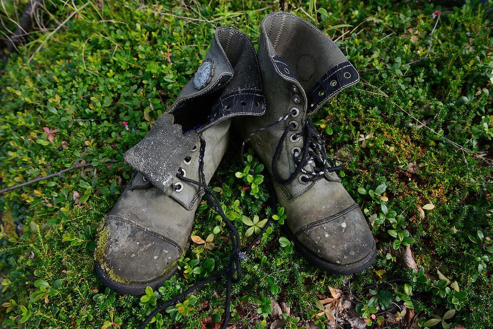 Old shoes, Family hiking trip on the Laponia Circuit, along the Padjelantaleden trail, Padjelanta National Park and Sarek National Park, Norrbotten, Lapland, Sweden.