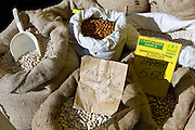 Beans and pulses, including Lamon, fagioli cannelloni beans, borlotti beans and chick peas on sale in food market in Pienza, Tuscany, Italy