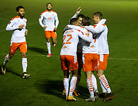 Blackpool's Luke Garbutt celebrates his side's opening goal with CJ Hamilton and Danny Ballard<br /> <br /> Photographer Alex Dodd/CameraSport<br /> <br /> FA Cup Second Round - Harrogate Town v Blackpool - Saturday 28th November 2020 - Wetherby Road - Harrogate <br />  <br /> World Copyright © 2020 CameraSport. All rights reserved. 43 Linden Ave. Countesthorpe. Leicester. England. LE8 5PG - Tel: +44 (0) 116 277 4147 - admin@camerasport.com - www.camerasport.com