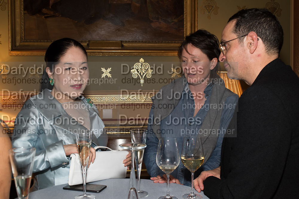 PORA YUKI ROTHERMERE; THE DOWAGER COUNTESS ROTHERMERE, CARAGH THURING, TenTen. The Government Art Collection/Outset Annual Award. Champagne reception to announce the inaugural artist Hurvin Anderson and unveil his 2018 print. Locarno Suite, Foreign and Commonwealth Office. SW1. 2 October 2018