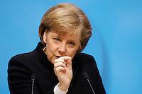 23 JAN 2006, BERLIN/GERMANY:<br /> Angela Merkel, CDU Bundesvorsitzende und Bundeskanzlerin, waehrend einer Pressekonferenz, Konrad-Adenauer-Haus<br /> Angela Merkel, Federal Chancellor of Germany, during a press conference, Konrad-Adenauer-Haus<br /> IMAGE: 20060123-02-013