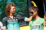 Daniel Oss (ITA - Bora - Hansgrohe), Peter Sagan (SVK - Bora - Hansgrohe) Green jersey, banana, during the 105th Tour de France 2018, Stage 8, Dreux - Amiens Metropole (181km) on July 14th, 2018 - Photo Luca Bettini / BettiniPhoto / ProSportsImages / DPPI
