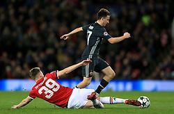 Manchester United's Scott McTominay challenges CSKA Moscow's Aleksandr Golovin