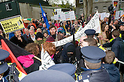 Scenes of protestors who disrupted the labour Conference at NUI, Galway at the weekend. Photo:Andrew Downes Photography