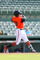 July 17, 2018 - Sarasota, FL, U.S. - Sarasota, FL - JUL 17: 2018 Orioles draft pick Trey Truitt (10) of Dothan, AL at bat during the Gulf Coast League (GCL) game between the GCL Twins and the GCL Orioles on July 17, 2018, at Ed Smith Stadium in Sarasota, FL. (Photo by Cliff Welch/Icon Sportswire) (Credit Image: © Cliff Welch/Icon SMI via ZUMA Press)