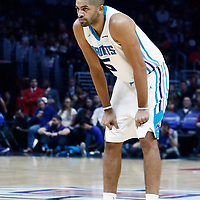 31 December 2017: Charlotte Hornets guard Nicolas Batum (5) rests during the LA Clippers 106-98 victory over the Charlotte Hornets, at the Staples Center, Los Angeles, California, USA.