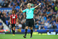 Referee Martin Atkinson makes his point. Premier league match, Everton vs Bournemouth at Goodison Park in Liverpool, Merseyside on Saturday 23rd September 2017.<br /> pic by Chris Stading, Andrew Orchard sports photography.