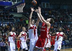 11.12.2015, Drazen Petrovic Basketball Hall, Zagreb, CRO, Basketball EL, KK Cedevita vs EA7 Emporio Armani Milan, Gruppe B, im Bild Stanko Barac, Miro Bilan // during the group B match of the Turkish Airlines Euroleague between KK Cedevita and EA7 Emporio Armani Milan at the Drazen Petrovic Basketball Hall in Zagreb, Croatia on 2015/12/11. EXPA Pictures © 2015, PhotoCredit: EXPA/ Pixsell/ Zeljko Lukunic<br /> <br /> *****ATTENTION - for AUT, SLO, SUI, SWE, ITA, FRA only*****