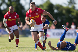 June 16, 2018 - Ottawa, ON, U.S. - OTTAWA, ON - JUNE 16: Cole Davis (11 Wing ) of Canada runs past Russian defenders in the Canada versus Russia international Rugby Union action on June 16, 2018, at Twin Elms Rugby Park in Ottawa, Canada. Russia won the game 43-20. (Photo by Sean Burges/Icon Sportswire) (Credit Image: © Sean Burges/Icon SMI via ZUMA Press)