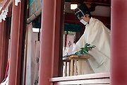 Shinto priest giving prayers during New Years celebration at the Tsurugaoka Hachimangu shrine in Kamakura