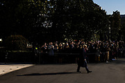 President Donald Trump departs the White House in Washington, D.C., U.S., on Tuesday, Jan. 12, 2021. The President is heading to Alamo, Texas today to visit the border wall between the United States and Mexico. This is the Presidents first appearance following the insurrection at the U.S. Capitol by his followers last week. Photographer: Samuel Corum/Bloomberg