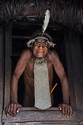 Dani tribe man (Jali)<br /> Jiwika village<br /> Suroba<br /> Trikora Mountains<br /> West Papua<br /> Indonesia<br /> Chief
