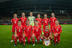 BARYSAW, BELARUS - Tuesday, October 8, 2019: Wales' players line-up for a team group photograph before the UEFA Women's Euro 2021 Qualifying Group C match between Belarus and Wales at the Borisov Stadium. Back row L-R: Anna Filbey, Elise Hughes, goalkeeper Laura O'Sullivan, Hayley Ladd, Josie Green, Rhiannon Roberts. Front row L-R: Angharad James, Loren Dykes, Rachel Rowe, Natasha Harding, Kayleigh Green. (Pic by Kunjan Malde/Propaganda)