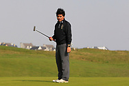 Marco Deane (RBAI) on the 9th green during the final of the Irish Schools Senior Championship at Portstewart Golf Club, Portstewart, Co Antrim on Tuesday 23rd April 2019.<br /> <br /> Picture:  Thos Caffrey / www.golffile.ie<br /> <br /> All photos usage must carry mandatory copyright credit       (© Golffile | Thos Caffrey)