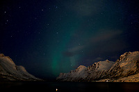 Chasing the Northern Lights. Ersfjord, Kvaløya (Whale Island). Image taken with a Nikon D800 camera and 24 mm f/1.4 lens (ISO 800, 24 mm, f/1.4, 8 sec).