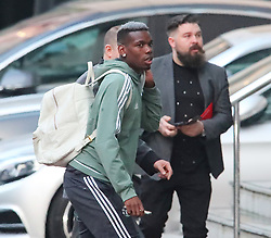 14.4.18….. The Manchester United team arrive at The Lowry Hotel on Saturday evening to prepare for their home game against West Brom on Sunday afternoon……. Paul Pogba was the last to arrive.