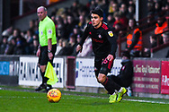 Reece James of Sunderland (16) looks up to pass the ball during the EFL Sky Bet League 1 match between Scunthorpe United and Sunderland at Glanford Park, Scunthorpe, England on 19 January 2019.