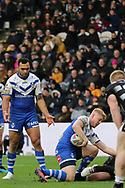 St Helens second row forward Dominique Peyroux (12) shouts for the ball during the Betfred Super League match between Hull FC and St Helens RFC at Kingston Communications Stadium, Hull, United Kingdom on 16 February 2020.