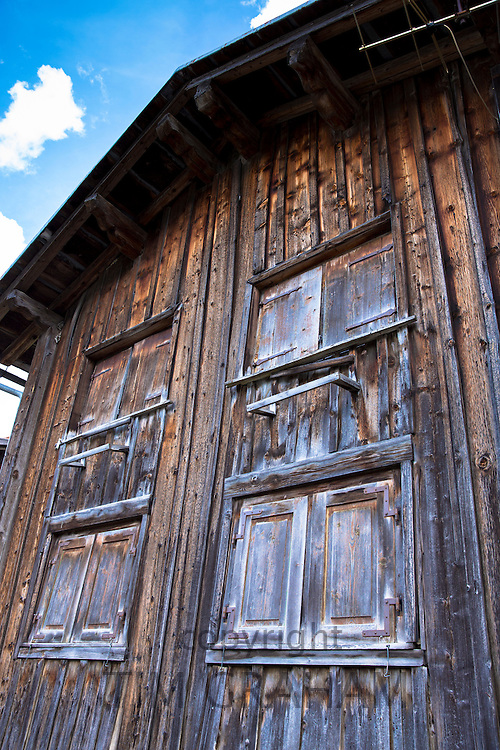 Traditional Swiss barn in Klosters in Graubunden region, Switzerland