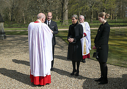 The Earl and Countess of Wessex, with their daughter Lady Louise Windsor, talk to Cannon Martin Poll, Domestic Chaplin to Her Majesty The Queen, as they attend the Sunday service at the Royal Chapel of All Saints at Royal Lodge, Windsor, following the announcement on Friday April 9, of the death of the Duke of Edinburgh at the age of 99. Picture date: Sunday April 11, 2021.