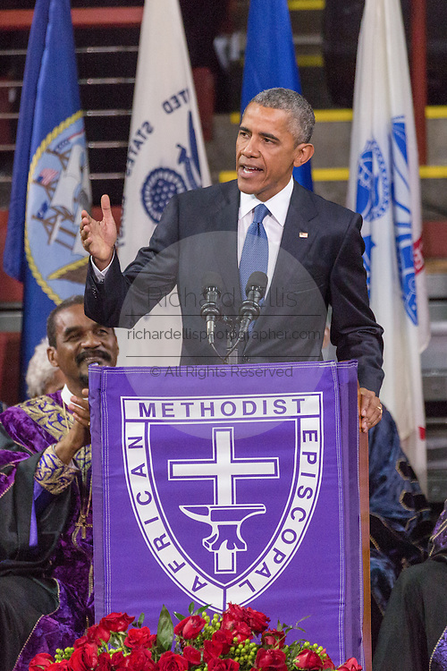 U.S. President Barack Obama delivers the eulogy at the funeral of slain State Senator Clementa Pinckney at the TD Arena June 24, 2015 in Charleston, South Carolina. Pinckney is one of the nine people killed in last weeks Charleston church massacre.
