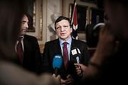 Nobel Peace Prize winner Jose Manuel Barrosa meets the press at the Norwegian Parliament.