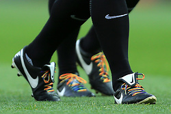 25th November 2017 - Premier League - Manchester United v Brighton & Hove Albion - Rainbow laces on the boots worn by the officials - Photo: Simon Stacpoole / Offside.
